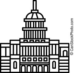 capitol, usa vector line icon, sign, illustration on background, editable strokes