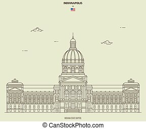 capitole, indianapolis, repère, indiana, état, icône, usa.
