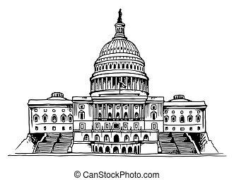 capitole, vecteur, bâtiment, etats unis, illustration