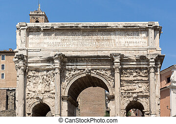 Capitoline Hill, Septimius Severus Arch at Roman Forum in city of Rome