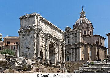 Capitoline Hill, Septimius Severus Arch at Roman Forum in city of Rome,