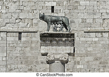 Capitoline wolf Romolus and Remus - Column with capitoline ...