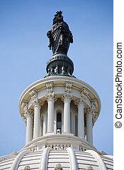 capitolio, libertad, encima, washington dc, estatua, colina