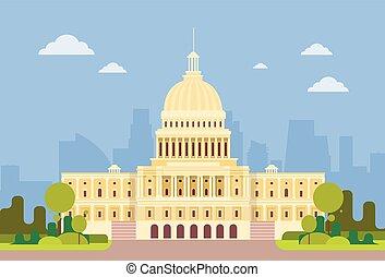 capitolio, washington, casa, edificio, américa, senado, ...
