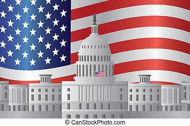 capitolio, washington dc, bandera de los e.e.u.u, plano de...