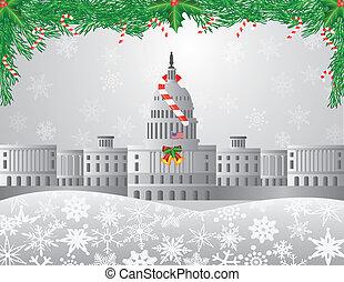 capitolio, washington dc, ilustración, escena, navidad