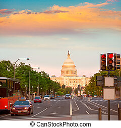 capitolium, solnedgang, congress, washington washington. dc.
