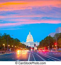 capitool, pennsylvania, washington dc, ondergaande zon , ave