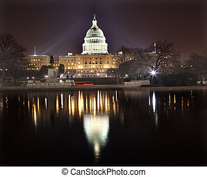 capitool, washington dc, ons, nacht, reflectie