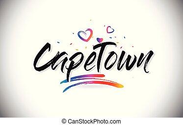 capo, amore, testo, benvenuto, font, cuori, creativo, vector., scritto mano, disegno, città, parola