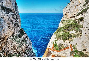 Capo Caccia rocky shore on a clear day