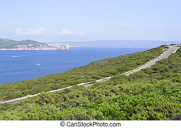 seascape seen from Capo Caccia viewpoint on a clear summer day