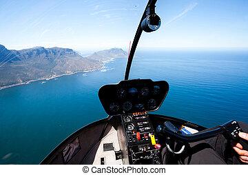 capo, costiero, vista, aereo, città, bello