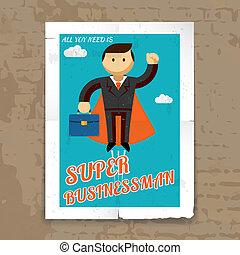capo, grafico, super, cartella, uomo affari