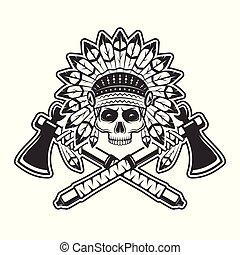 capo, indiano, tomahawks, illustrazione, cranio