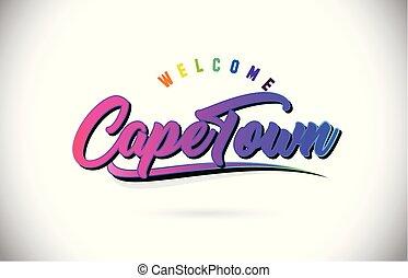 capo, testo, benvenuto, font, creativo, swoosh, vector., scritto mano, disegno, città, viola, rosa, parola, forma