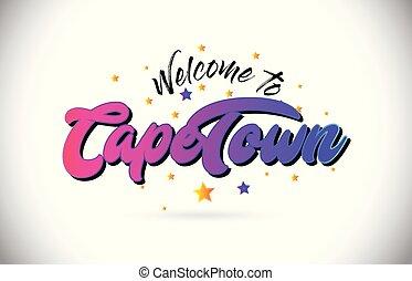 capo, testo, font, benvenuto, vector., scritto mano, giallo, disegno, stelle, città, viola, rosa, parola, forma