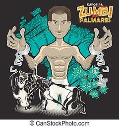 capoeira, daliák, zumbi, dos, palmares