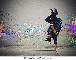 Capoeira dance - An elegant dancer brazilian man dance...