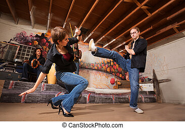 Capoeira Partners Practicing