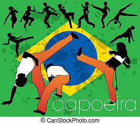 capoeira, satz, silhouetten