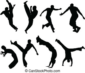 Capoeira silhouettes - Capoeira fighters silhouettes...