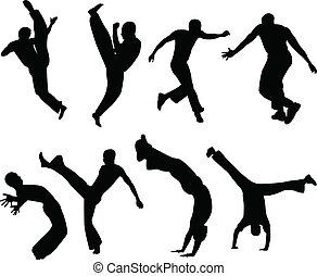capoeira, silhouettes