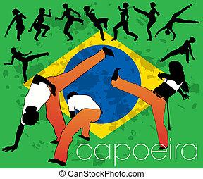 capoeira, siluetas, conjunto
