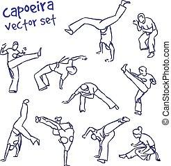 capoeira, vector, set