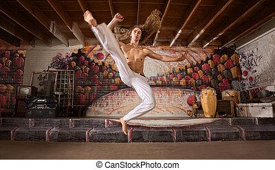 capoeira, vuelo, patada
