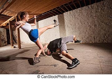 Capoeria Experts Kicking and Dodging