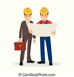 caposquadra, costruzione., brutta copia, discutere, ingegnere