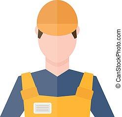 caposquadra, persone, costruzione, insieme, vector., ingegnere, lavoratore, silhouette