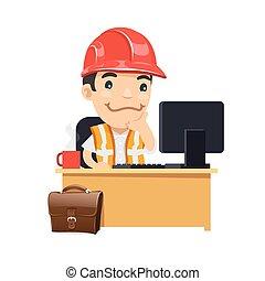 caposquadra, suo, scrivania