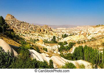 cappadocia, 마을, 조경술을 써서 녹화하다, 보이는 상태, 와, 푸른 하늘