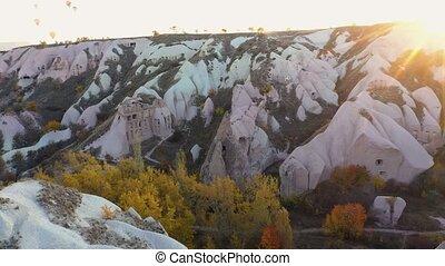 Cappadocia, Anatolia, Turkey. Beautiful Cappadocia landscape with amazing stone formations. View from above.