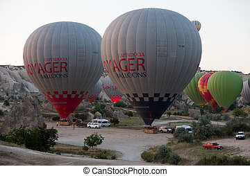Cappadocia - preparations to the start of the balloon at...
