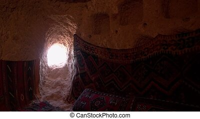 Cappadocia, Turkey. Inside window view from an ancient cave ...