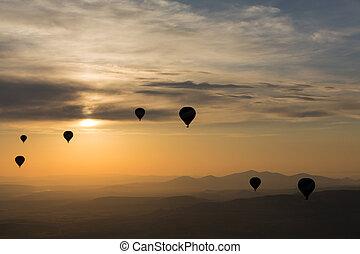 Cappadocia, Turkey. The greatest tourist attraction of Cappadocia , the flight with the balloon at sunrise