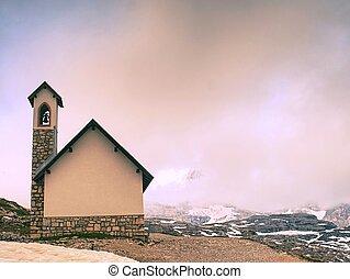 Cappella degli Alpini, Cadini di Misurina range in National Park Tre Cime di Lavaredo, Italy