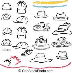 cappelli estate, delineato, cappucci, set, sagoma