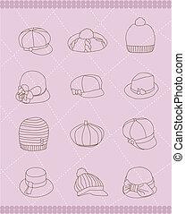 cappelli, set, donna