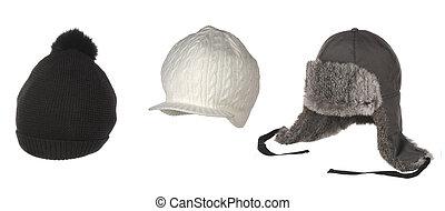 cappelli, set, isolato, bianco