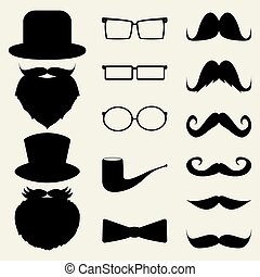 cappelli, set, occhiali, baffi