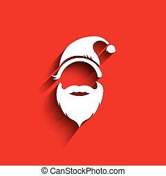 cappello, baffi, barba, santa