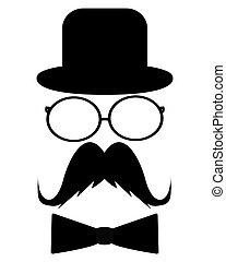 cappello, baffi, occhiali da sole