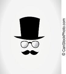 cappello, baffi, occhiali