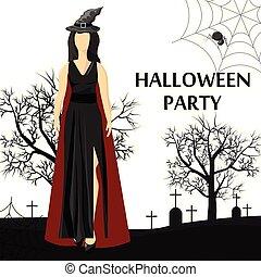 cappello, bandiera, il portare, luogo, strega, festa, donna, halloween