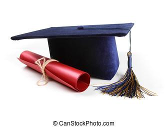 cappello bianco, diploma, graduazione, isolato