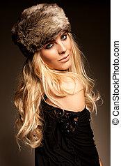 cappello, biondo, donna, pelliccia
